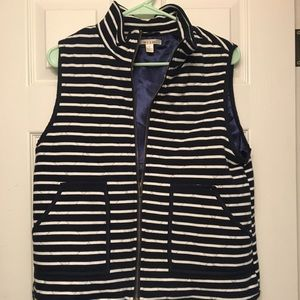 Navy Blue and White Striped Vest